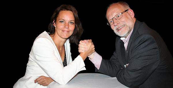 Veronica Palm (S) och Stefan Attefall (kd). Foto: Fastighetsvärlden.