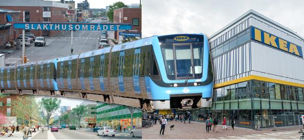 En ny tunnelbanestation med en uppgång nära det planerade Ikeavaruhuset kan rädda projektet. Montage: Fastighetsvärlden.
