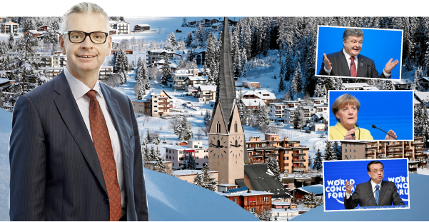 Skanskas koncernchef Johan Karlström är på plats i Davos.