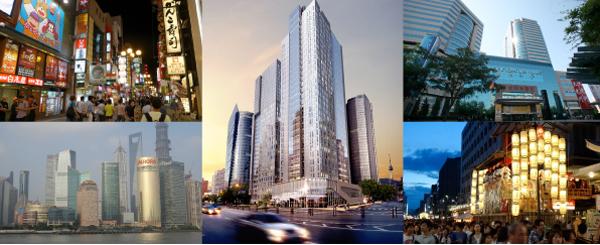 I mittens syns den förvärvade fastigheten i Seoul och överst till höger den som köpts i Peking. Bilder: AP2/Fastighetsvärlden.