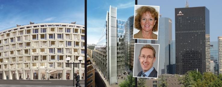 I det nya bolagets bestånd ingår fastigheter i London, Paris, München och Hamburg. På bild syns Helena Olin, ansvarig fastighetsinvesteringar vid AP2, och Johan Åström, Head of Investments, Sverige, TH Real Estate.