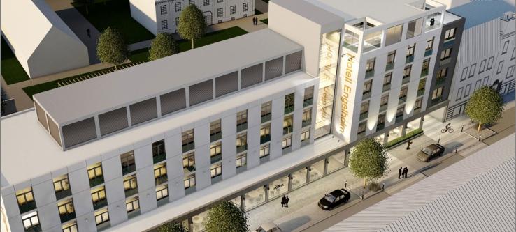 Projektnamnet är Hotell Engelholm. Byggnaden till höger är nyproduktion. Illustration: Griab.