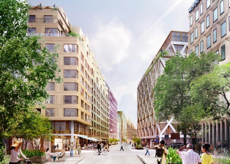 Bostadsdelen. Vy från Mäster Samuelsgatan och söderut längs Malmskillnadsgatan. Till höger syns S-huset och till vänster M-huset. I den nordliga delen av M-huset, i hörnet Mäster Samuelsgatan, planeras det för bostäder. I entréplanet i hörnet finns hotellreceptionen, enligt förslaget.