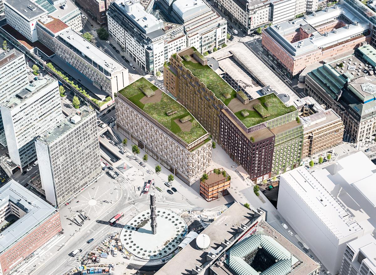 Fastigheten Hästskon 12 vid Sergels torg i centrala Stockholm. Bild: Vasakronan/Marge Arkitekter.