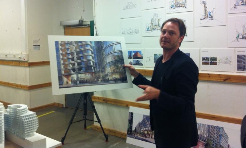 Arkitekten Kristian Lars Ahlmark från den danska byrån SHL ligger bakom det vinnande förslaget.