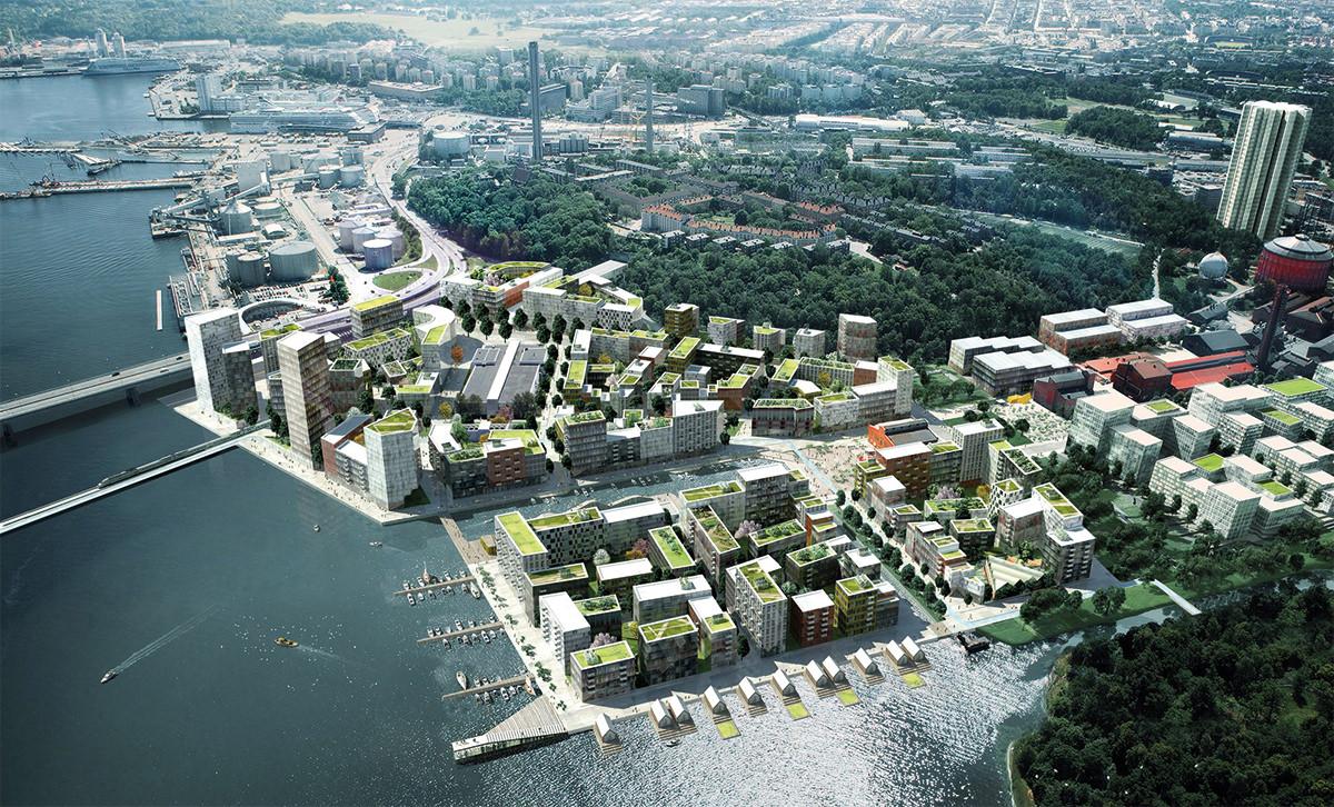 Projektområdet Norra Djurgårsstaden växer ut i vattnet. Till vänster syns Lidingöbron.  Illustration: Adept/Mandaworks