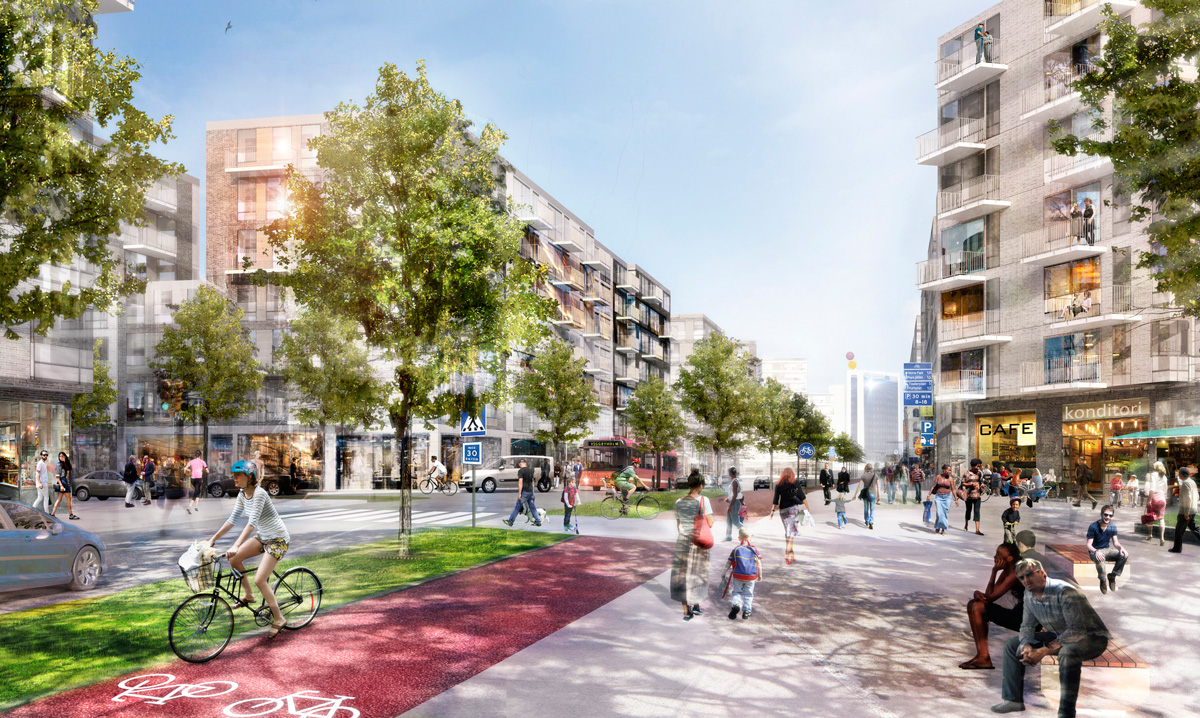 I första etappen ska cirka 1.200 lägenheter byggas, varav JM och Skanska står för 900 stycken. Det första området i Täby Park som utvecklas är de centrala delarna samt en mindre del av östra entrén där Trygghem ska bygga 35.000 till 40.000 kvm.