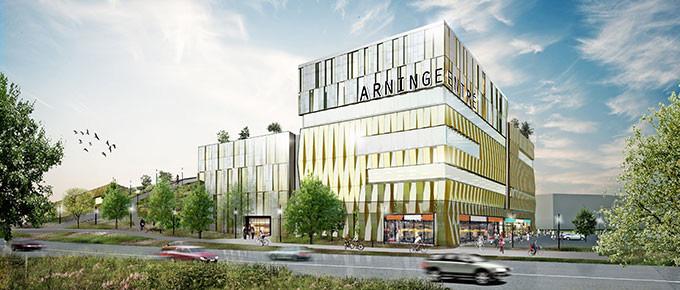 Illustration av entrén till Arninge. Bilden föreställer ett kontorshus som är lågprioriterat i konceptet. Illustration: Strategisk Arkitektur.