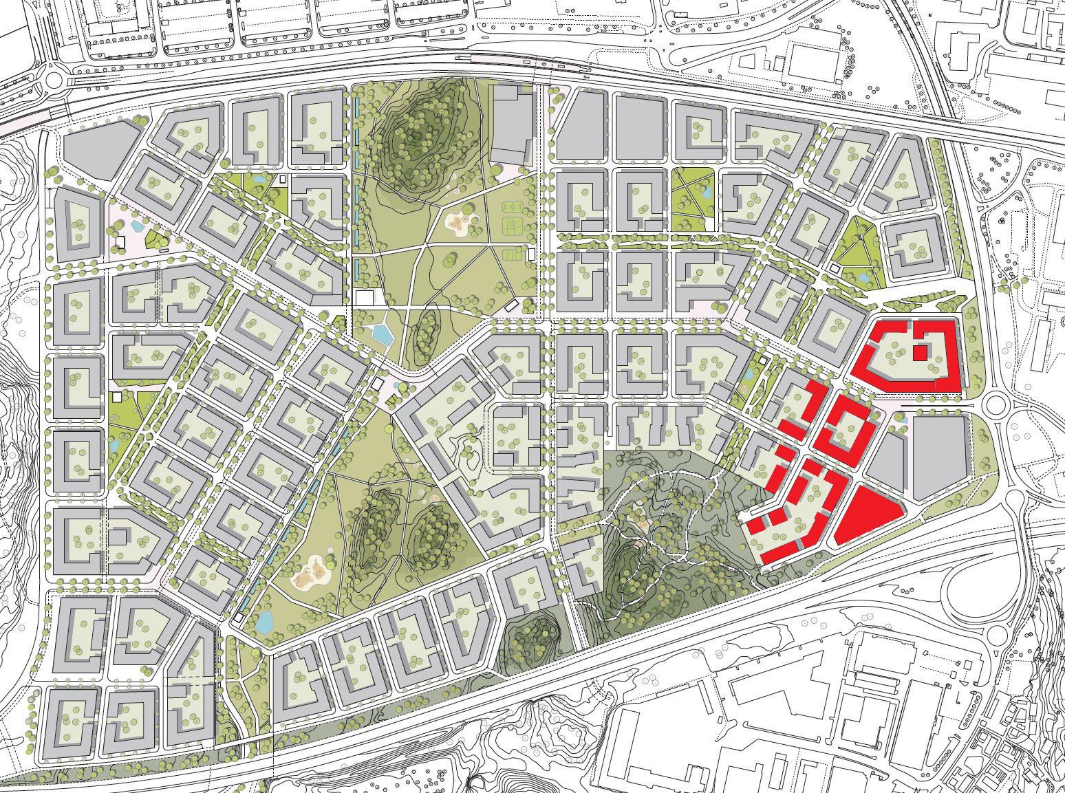 Vid östra entrén ska Riksbyggen uppföra 400 bostäder i etapp 1. Totalt planerar man bygga cirka 700 lägenheter.