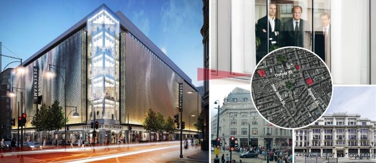 Den nyinköpta Debenham-fastigheten ligger på 334–348 Oxford St. Sedan tidigare har trion Drangel, Persson och Asplund köpt en fastighet vid Oxford Circus och en på Regent Street. Karta: Fastighetsvärlden.