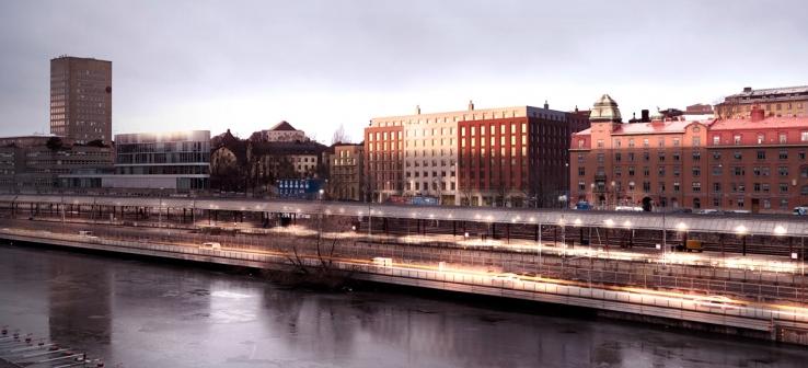 AFA Fastigheters projekt ligger granne med den tidigare Stockholm Vatten-fastigheten längs Torsgatan.