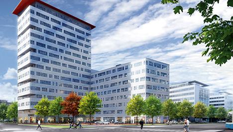 SWP hyr större delen av låghusdelen men även översta våningen i höghuset.