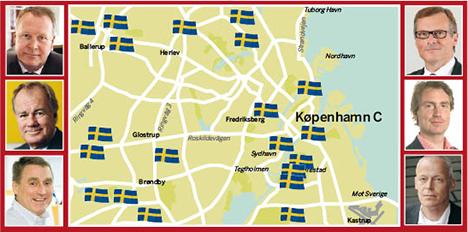 Karta över svenskägda fastigheter i Köpenhamn. (ur magasinet Fastighetsvärlden Nr 2/2012)