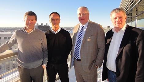 Jan Kristensson, VD Ikano Retail Centres, Håkan Svedman, VD vid Ikea Sverige, finansborgarrådet Sten Nordin (M) och Robert Jaaniste, VD Ikano Bostad i närheten av det nya Ikea/Ikano-området som byggs söder om den nya Stockholmsarenan.