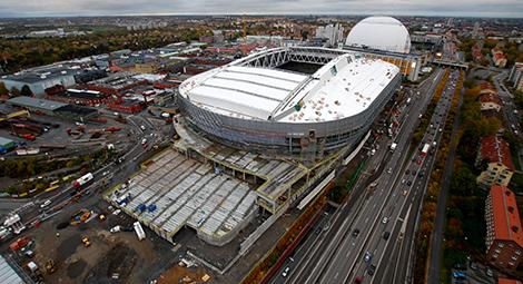 Bild från årsskiftet på Tele2 arena. Ikea/Ikano ska bygga söder om arenan men i första hand sydväst.