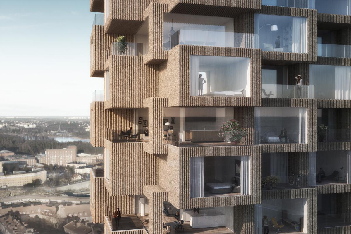 Tornen har spännande fasader uppbyggda av rumsmoduler. Bild: Oscar Properties/OMA.