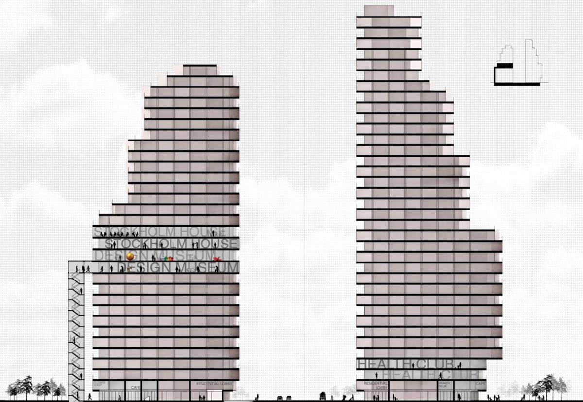 I det västra tornet blir det designmuseum på plan 11 till 14. Bild: Oscar Properties/OMA.