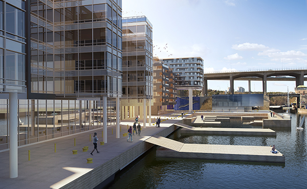 """Projektet """"By the Sea"""", som är en kontorsfastighet på kajen vid Hammarby Sjö, precis nedanför kvarteret med Stockholm One. Här ska Skanska bygga två kontorshus, om 10.000 och 14.000 kvm, samt cirka 350 lägenheter."""