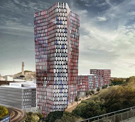 Höghuset är skissat att bli 29 våningar högt.