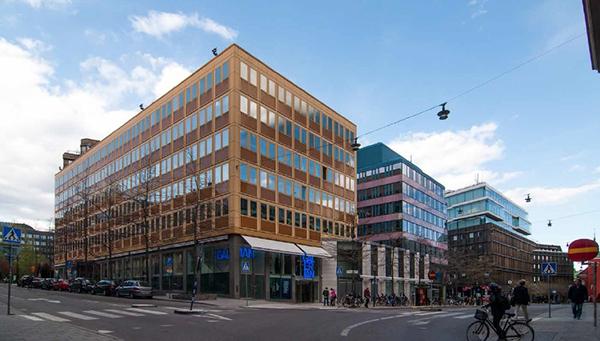 Fastigheten Trollhättan 32, sedd från hörnet Malmtorgsgatan och Jakobsgatan, som den ser ut idag.