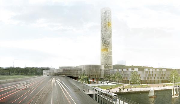 Skrapan kan enligt planerna bli hela 207 meter hög – om den blir av. Vy från Lidingöbron. Till höger syns den nya spårvägen som ska ersätta Lidingöbanan.