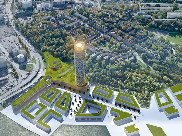 """Så här kan """"Stockholmsfyren"""" komma att se ut om projektet genomförs. Alla skyskrapeprojekt i Sverige vid sidan av Turning Torso har dock hittills stannat på ritbordet. Illustration: Alessandro Ripellino Arkitekter."""
