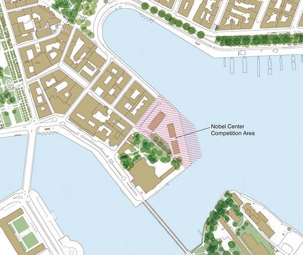 Längst ut på Balasieholmen ska det nya Nobel Center byggas. Längst ner i det vänstra hörnet på kartan syns Stockholms slott och i den övre delen syns Nybroviken med Dramaten.