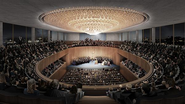 Det stora auditoriet enligt Chipperfields förslag. Här, och inte i konserthuset, kommer Nobalpriset att delas ut framöver.