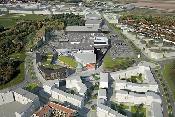 Atrium Ljungberg ska bland annat bygga 40.000 kvm bostäder i området. Det är många aktörer som ska tillföra bostäder i området, bland annat Rikshem. Illustration:  Sweco Architects AB.