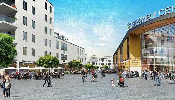 """Så här planeras """"restaurangtorget"""" i Gränby Centrum se ut. Illustration: Sweco Architects AB."""