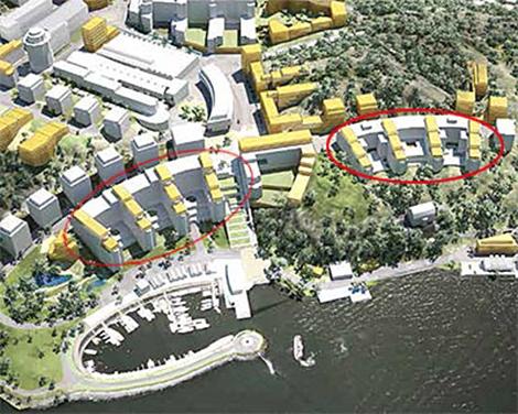 Att omvandla två stora kontorshus (inringade) till bostäder är ett av projektets syften. De gula volymerna ovanpå de befintliga byggnaderna illustrerar en princip som projektet har som utgångspunkt, inte ett tänkt slutresultat. Utformning och utbredning ska bearbetas ytterligare. Illustration: Nacka kommun.