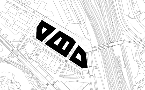 """Situationsplan för området. Till höger syns spårområdet och den nya utgången från pendeltågsstationen. I """"kilen"""" mellan spårområdet och SEB-huset finns huvudentrén till Mall of Scandinavia (som ska slå upp portarna hösten 2015)."""