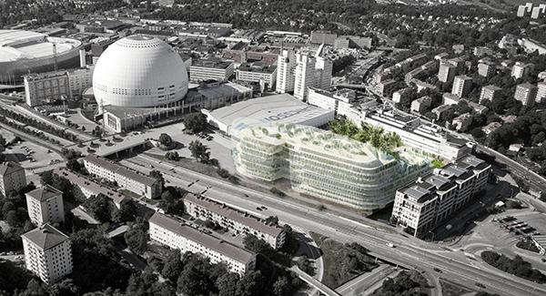 Flygvy över området som det är tänkt att se ut 2018. Bostadshuset, som kan bli mycket högre, är inte inritat. Illustration: Selgas Cano/Urban Design.