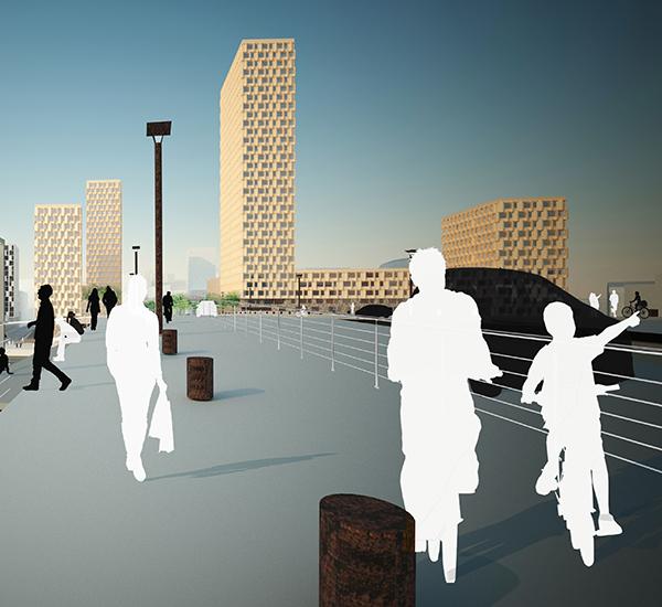 Visionsbild för det tänkta området och Liljeholmsbron, sett från Hornstull på Södermalm. Illustration: Alessandro Ripellino Arkitekter.