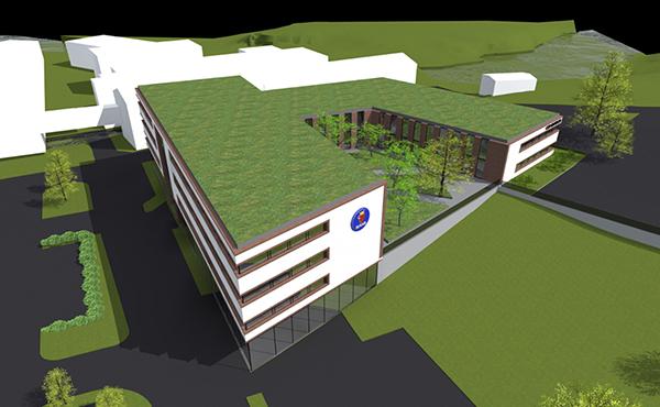 Så kommer Saab AB:s nya anläggning i Huskvarna att se ut när den står färdig.