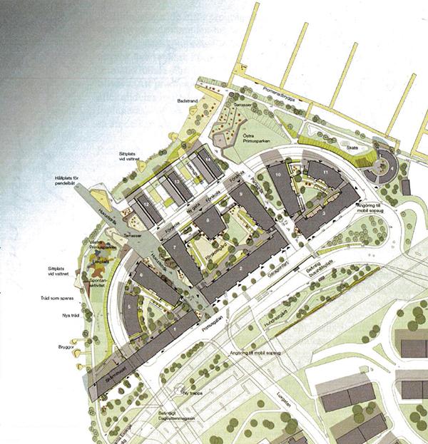 Situationsplan över Primusområdet. Utöver det som Vasakronan säljer till Oscar Properties finns ett område nära Essingeleden som markanvisats till Svenska Bostäder och till Wästbygg. I de senasre fallen har Fastighetsvärlden tidigare skrivit att det handlar om cirka 120 respektive 95 lägenheter. Illustration: Sweco.