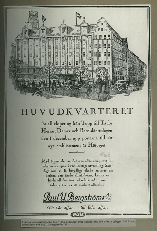 Annons från PUB år 1925.