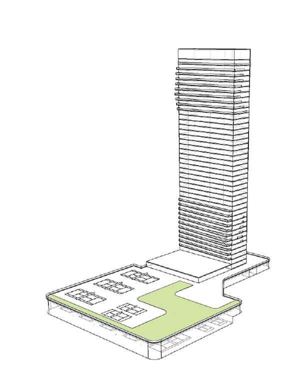 Höghusdelen är ritad för att bli 42 våningar högt.