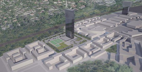 Det planerade höghuset syns till vänster. Till höger syns Victoria Tower.