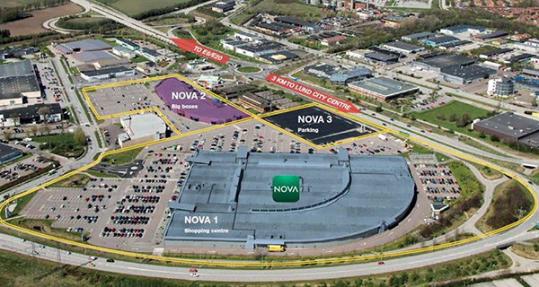 Nova Lund består av tre fastigheter.