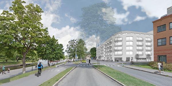 Illustration för hur det kan komma att se ut vid fastighetens sida mot Fyrisån.  Illustration: Berndtsson arkitektkontor.