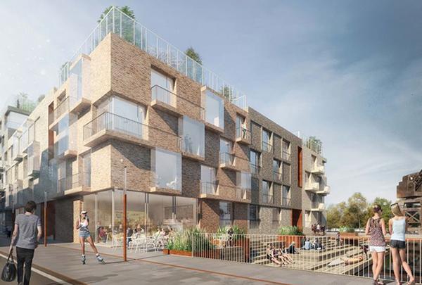 Megnolias projekt om 109 hyresrätter med en totalyta om 8 500 kvm. Illustration: två nordiska arkitektkontor, LINK arkitektur AB och isländska Batteríið Architects Ltd.