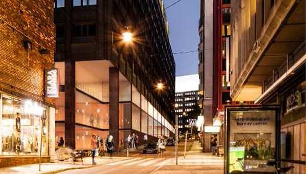 Bilden visar förslaget till omvandling av fasaden vid Drottninggatan-Vattugatan. Hörnet återställs och fasaden ges en större transparens. Illustration: Wingårdh Arkitektkontor.