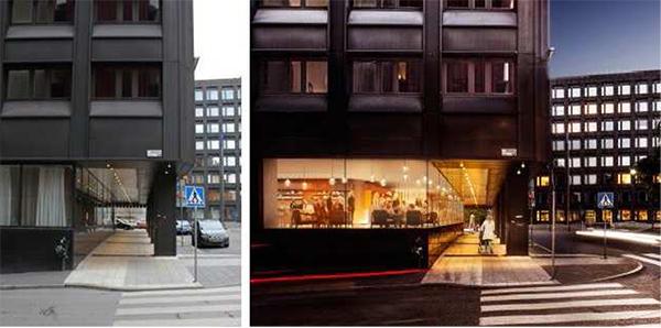 Arkaden bibehålls men ges en bättre belysning och ljusare framtoning med hjälp av hotellets restaurangverksamhet i entréplanet. Illustration: Wingårdh Arkitektkontor.