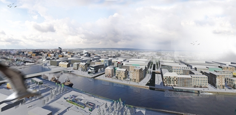 En visionsskiss över ett vinterskrudat Norrköping. I bakrunden till vänster syns området vid resecentrum där man vid Norrköpings kommun verkar leka med tanken på högre byggnader.