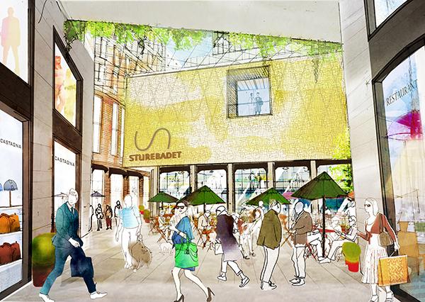 Så här ska innertorget runt Sturebadet bli. Illustration: Sweco Architects.