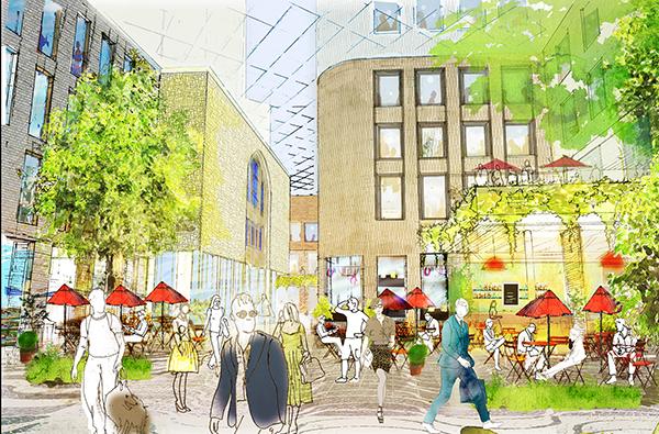 Det ska bli mer av det mesta när det nya Sturekvarteret står klart 2023. Mer kontorslokaler, mer shoppingyta och fler bostäder – och ett hotell. Illustration: Sweco Architects.