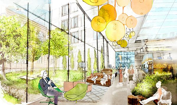 ADIA planerar för ett boutiquehotell med 100–130 rum. Illustration: Sweco Architects.