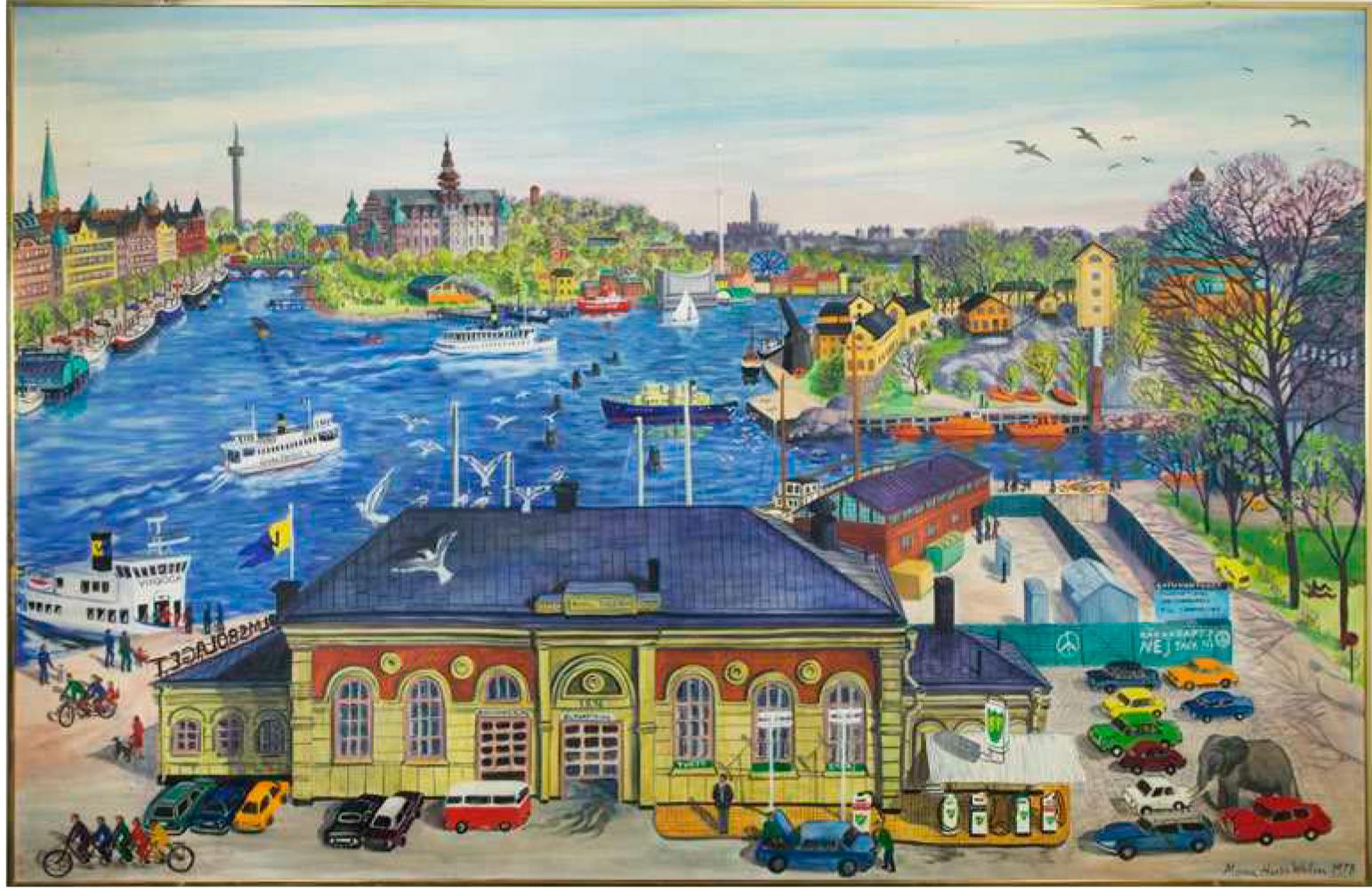 Söndags-Stockholm, utsikt från Hovslagargatan 5. Oljemålning av Mona Huss Valin 1978. Finns med i Nils Ahlbergs remissvar.