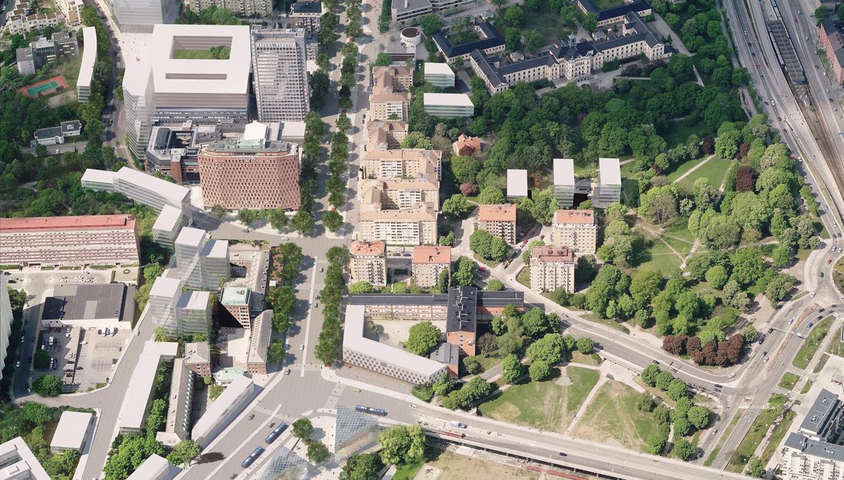 Fastigheten Lysbomben (som ses till vänster på flygbilden) kan bli föremål för ett större projekt, liksom stora delar av Mariebergsområdet.